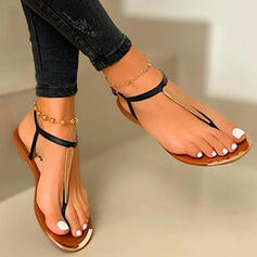 Women's PU Flat Heel Sandals Peep Toe Flip-Flops With Hollow-out Splice Color shoes