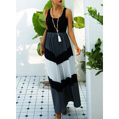 Color Block Sleeveless A-line Skater Casual Maxi Dresses