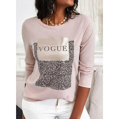 Print Sequins Letter Round Neck Long Sleeves T-shirts