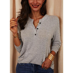 Solid Pockets Cold Shoulder Long Sleeves Button Up Casual Knit Blouses