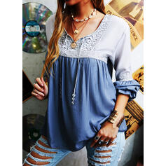 Color Block Lace V-Neck Long Sleeves Casual Blouses