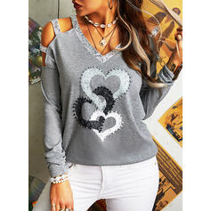 Print Sequins Heart Cold Shoulder Long Sleeves Casual Sexy Blouses