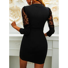Solid/PolkaDot Long Sleeves/Puff Sleeves Bodycon Above Knee Little Black/Party/Elegant Dresses