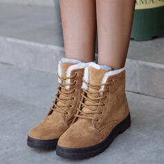 Women's Suede Flat Heel Boots Round Toe Winter Boots Snow Boots With Lace-up Solid Color shoes