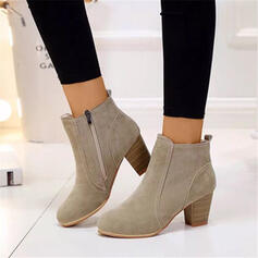 Women's Suede Leatherette Chunky Heel Closed Toe Ankle Boots Pointed Toe With Zipper shoes