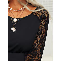 Solid Lace Round Neck Long Sleeves Casual Sexy Blouses