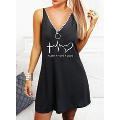 Print/Heart/Letter Sleeveless Shift Above Knee Casual/Vacation Dresses