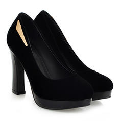 Women's Suede Chunky Heel Pumps Platform Closed Toe With Sequin shoes