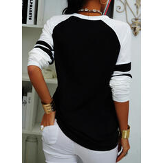 Color Block Sequins Round Neck Long Sleeves Casual Blouses