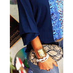 Print Color Block V-Neck Long Sleeves Button Up Casual Shirt Blouses