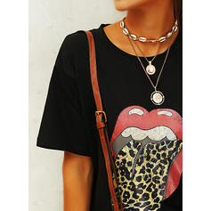 Print Leopard Round Neck Short Sleeves Casual Knit T-shirts
