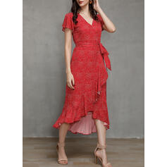 Print Short Sleeves A-line Asymmetrical Casual/Vacation Wrap Dresses