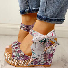 Women's Cloth Wedge Heel Sandals Peep Toe With Bowknot Lace-up shoes