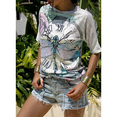 Floral Animal Print Round Neck Short Sleeves Casual T-shirts