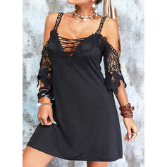 Lace/Solid 1/2 Sleeves A-line Above Knee Little Black/Casual Skater Dresses