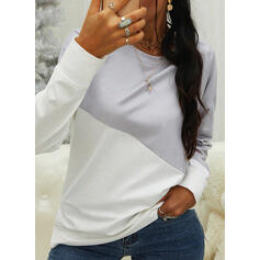 Color Block Round Neck Long Sleeves T-shirts