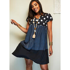 PolkaDot/Plaid Short Sleeves Shift Knee Length Casual T-shirt Dresses