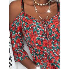 Print/Floral 1/2 Sleeves Shift Above Knee Casual/Vacation Tunic Dresses