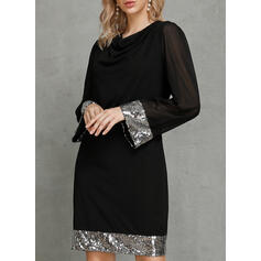 Sequins/Solid Long Sleeves Bodycon Above Knee Little Black/Party/Elegant Dresses