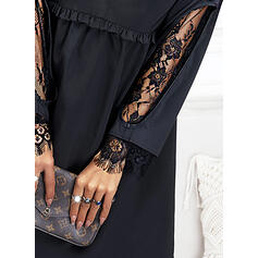 Solid Lace Long Sleeves Shift Knee Length Little Black/Casual Tunic Dresses