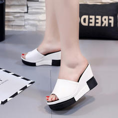 Women's PU Wedge Heel Sandals Platform Wedges Peep Toe Slippers With Others shoes