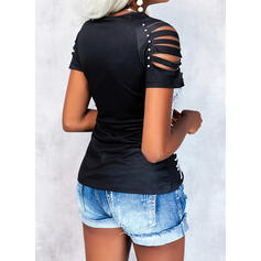 Print Beaded Cold Shoulder Short Sleeves Casual Blouses