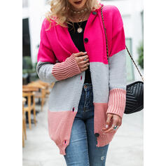 Color Block Chunky knit Pocket Hooded Casual Cardigan