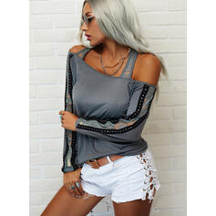 Solid Lace One-Shoulder Long Sleeves Casual Blouses