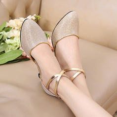 Women's Ballroom Swing Heels Sandals Leatherette With Bowknot Sequin Ballroom