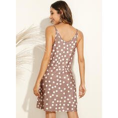 PolkaDot Sleeveless Shift Above Knee Casual/Vacation Dresses