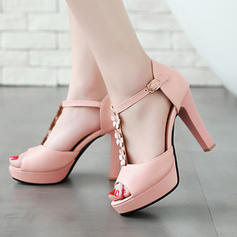 Women's Leatherette Chunky Heel Sandals Platform Peep Toe With Buckle Flower shoes