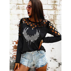 Sequins Heart Round Neck Long Sleeves Casual Blouses