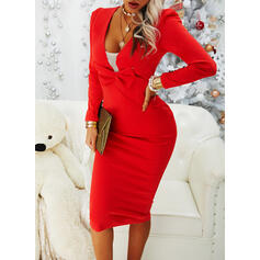 Solid Long Sleeves/Puff Sleeves Bodycon Pencil Little Black/Party/Elegant Midi Dresses