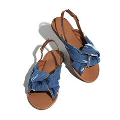 Women's Suede Flat Heel Sandals Peep Toe With Buckle shoes