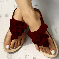 Women's PU Flat Heel Sandals Flip-Flops Slippers With Flower Elastic Band shoes
