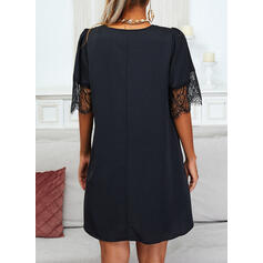 Lace/Solid Short Sleeves/Flare Sleeves Shift Above Knee Little Black/Casual Tunic Dresses