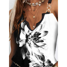 Color Block Floral Print Lace Spaghetti Straps Sleeveless Tank Tops