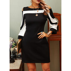 Striped 3/4 Sleeves Sheath Above Knee Elegant Dresses