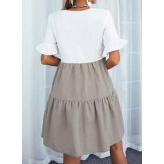Color Block Short Sleeves Shift Above Knee Casual Tunic Dresses