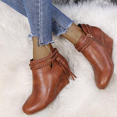 Women's PU Wedge Heel Boots Ankle Boots Pointed Toe With Braided Strap shoes