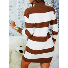 Color Block Lace Stand Collar Casual Long Sweater Dress