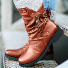 Women's PU Low Heel Boots Round Toe With Zipper shoes