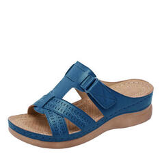 Women's PU Low Heel Sandals Slippers With Hollow-out shoes