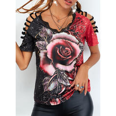 Print Floral Lace Cold Shoulder Short Sleeves Casual Blouses