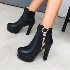 Women's PU Chunky Heel Boots With Solid Color shoes