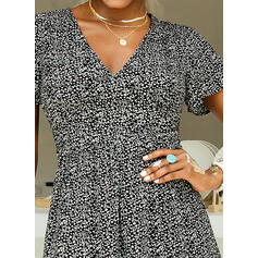 Print/Floral Short Sleeves A-line Above Knee Casual/Elegant Dresses