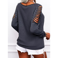 Solid Beaded Lace-up V-Neck Long Sleeves Casual Blouses
