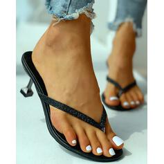 Women's PU Kitten Heel Sandals Peep Toe Slippers With Rhinestone shoes