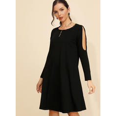 Solid Long Sleeves/Cold Shoulder Sleeve Shift Knee Length Little Black/Casual Tunic Dresses