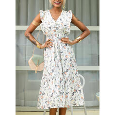 Print/Floral Short Sleeves A-line Skater Casual/Vacation Midi Dresses